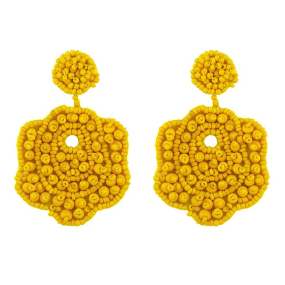 e3b3a80ed6bbd Yellow Flower Beaded Large Statement Drop Earrings NWT